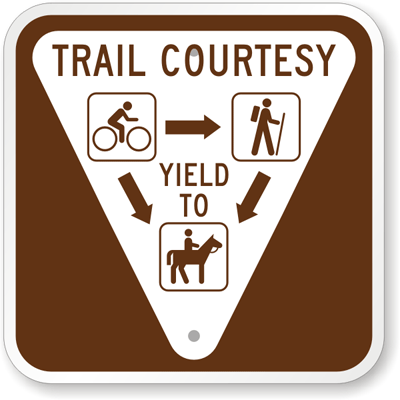 Trail Yield Sign horse bike walker