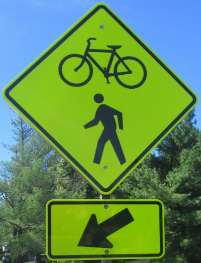 bicycle pedestrian crossing sign pix